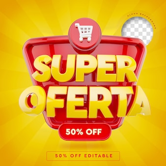 Banner 3d super offer in brazil with 50 off