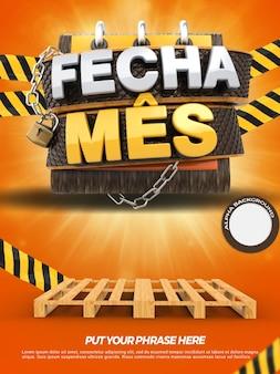 Banner 3d con pallet chiude i negozi di promozione del mese nella campagna generale in brasile