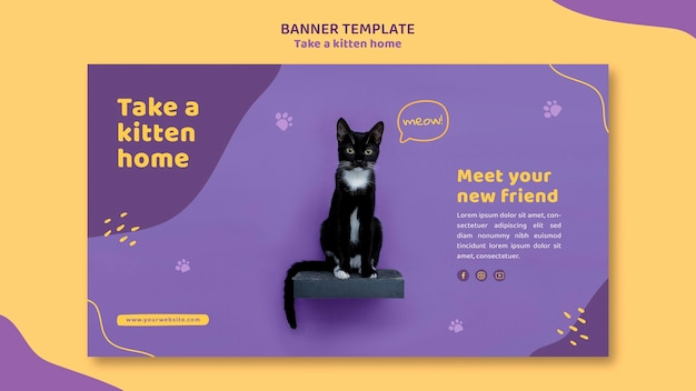 Баннер принимает шаблон котенка
