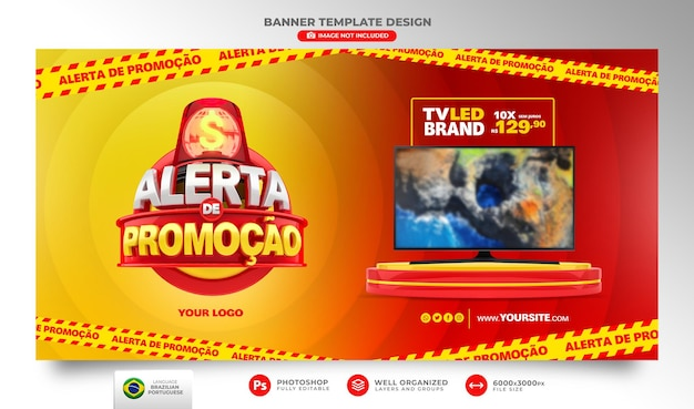 Banner alert of offers in brazil render 3d template in portuguese for marketing