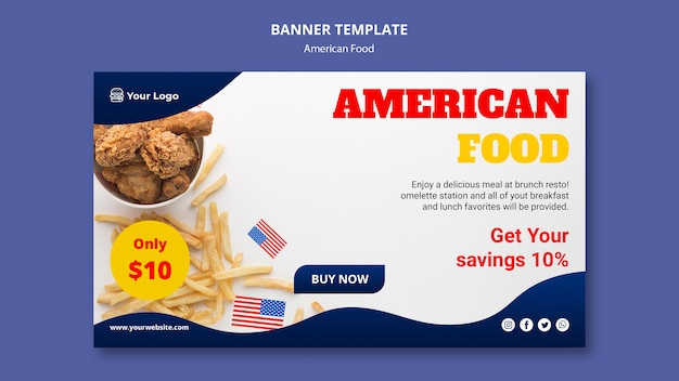 Banner for american food restaurant Free Psd