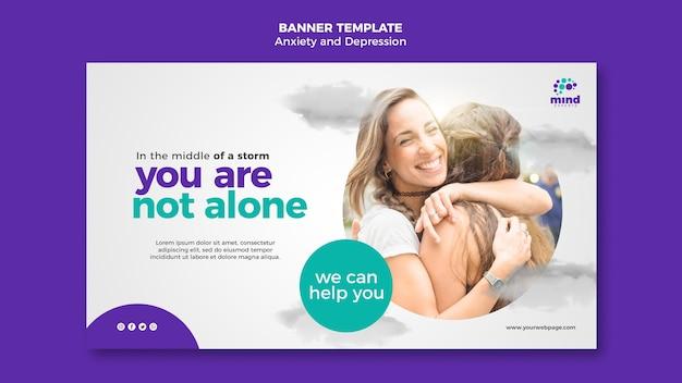 バナー不安とうつ病の広告テンプレート