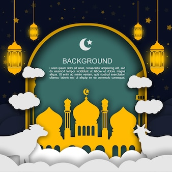 Eid al adha 축하 종이 예술 종이 접기 모양에 대한 배너 배경 이슬람 광장 템플릿