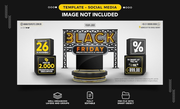 Banner black friday with smart tv on offer in brazil