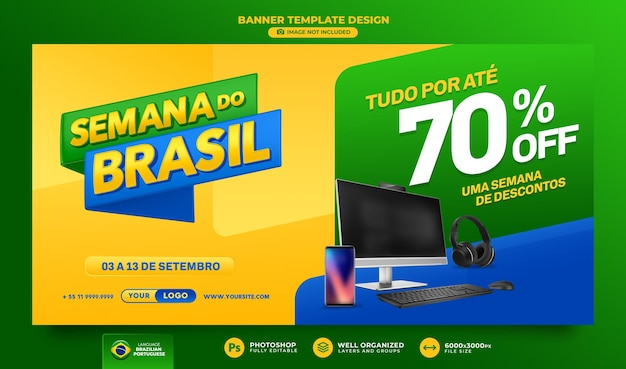Banner settimana brasiliana rendering 3d per il design del modello di campagna di marketing in portoghese