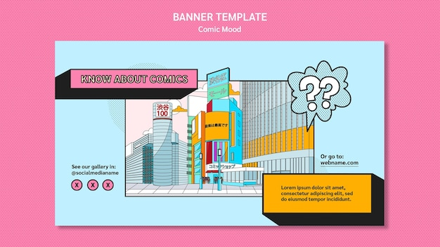 Banner comic design template