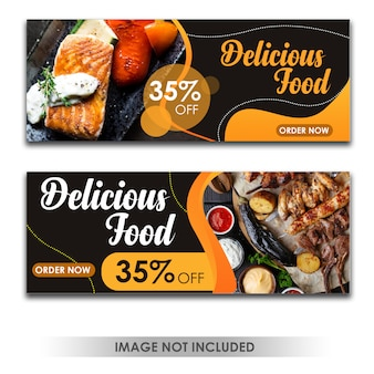 Banner delicius food orange template