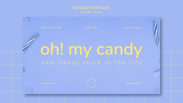 Banner design for candy shop template