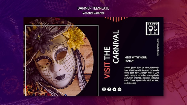 Banner design for ventian carnival template