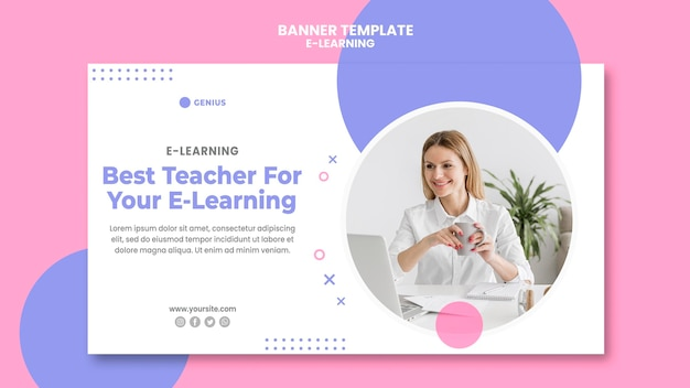 Шаблон рекламного баннера для электронного обучения