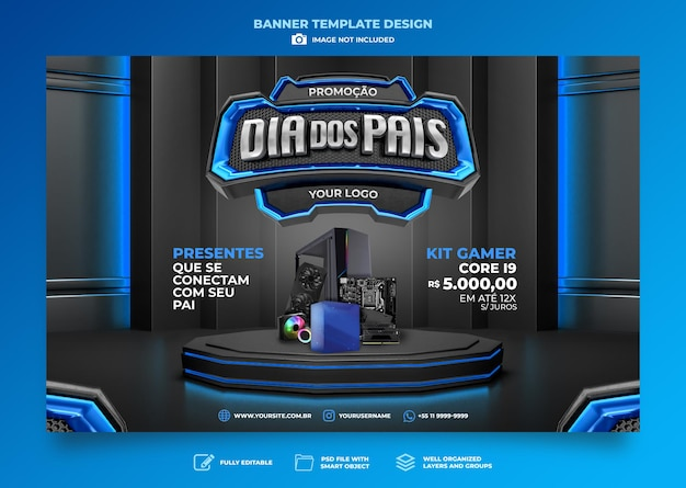 Banner fathers day  3d render template design in portuguese day