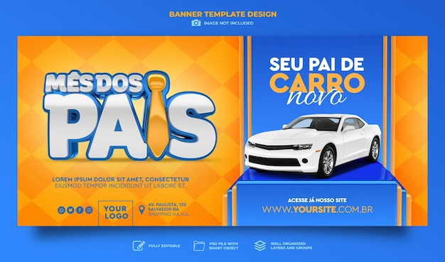 Banner fathers day in brazil 3d render template design