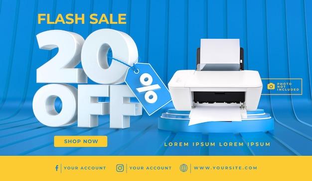Banner flash sale 10 off template design 3d render Premium Psd