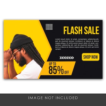 Banner flash sale yellow and black template