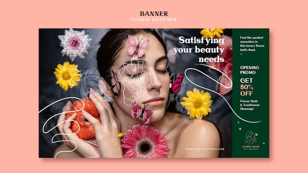 Banner floral spa ad template