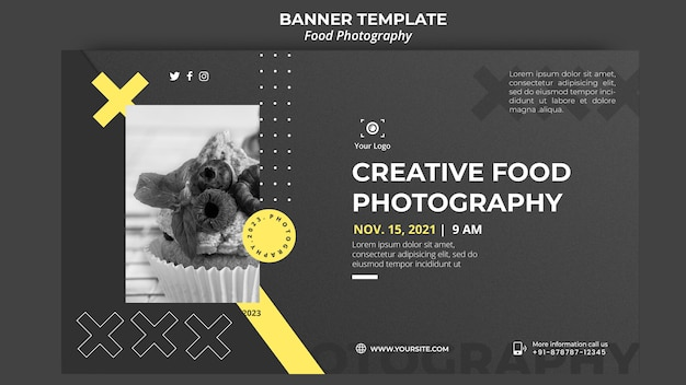 Banner food photography template