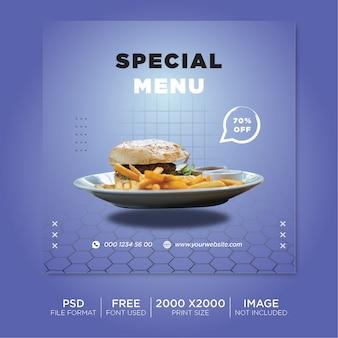 Баннер для поста о продаже бургеров в соцсетях premium psd