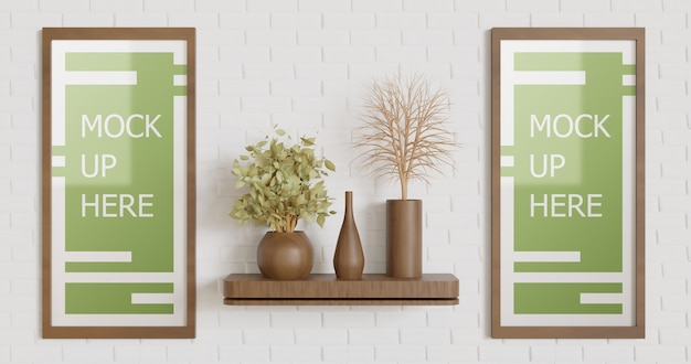 Banner frame mockup on the wall with wooden vase and plants