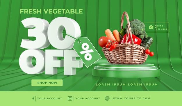 Баннер свежие овощи 30 off шаблон дизайна 3d визуализации