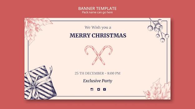 Баннер рисованной рождественский шаблон