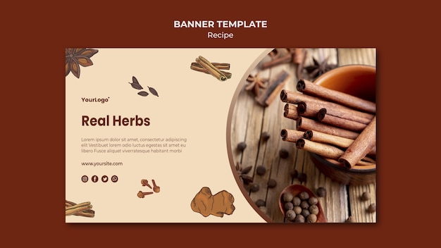 Banner herbs and spices template