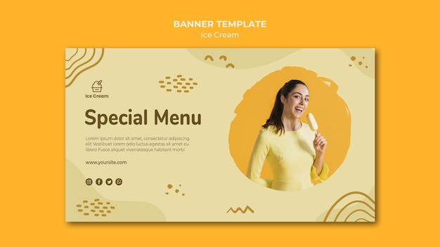 Banner ice cream template