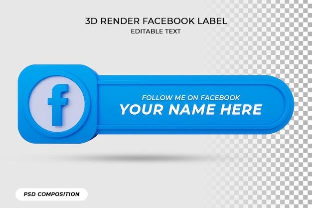 Значок баннера следует на facebook 3d-рендеринге
