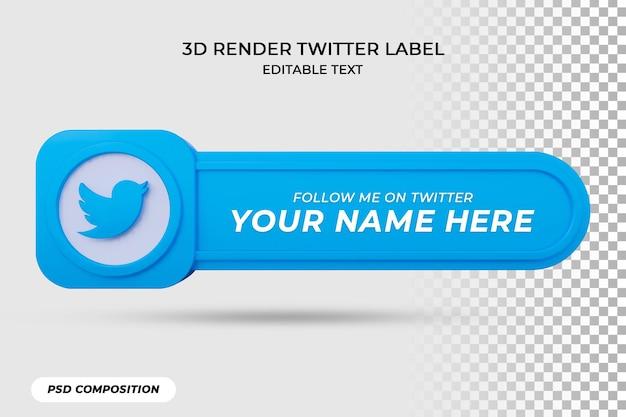 Значок баннера следуйте за этикеткой 3d-рендеринга в twitter