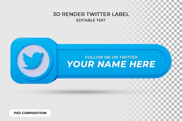 Banner icon follow on twitter 3d rendering label