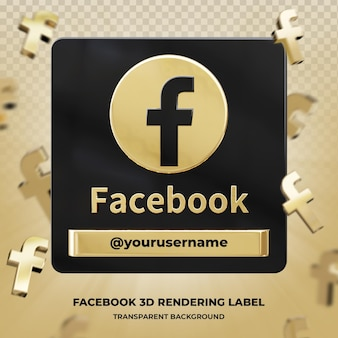 Banner icon profile on facebook 3d rendering label isolated Premium Psd