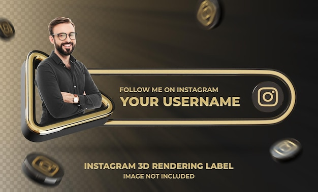 Banner icon profile on instagram 3d rendering label mockup