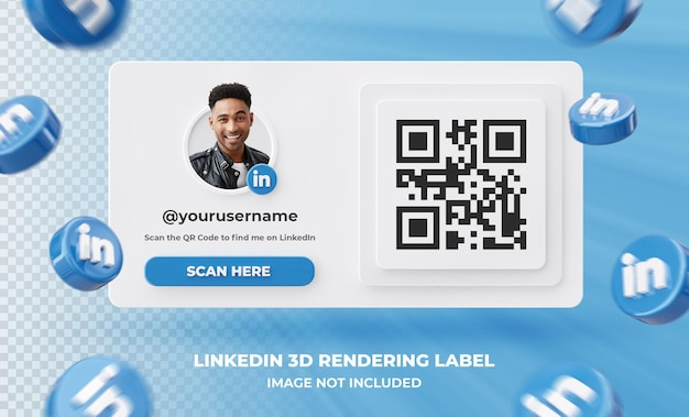 Banner icon profile on linkedin 3d rendering label isolated