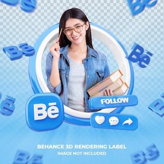 Профиль значка баннера на изолированной этикетке 3d-рендеринга behance