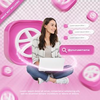 고립 된 dribbble 3d 렌더링 레이블에 배너 아이콘 프로필