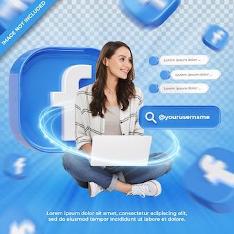 Facebook 3d 렌더링 레이블에 배너 아이콘 프로필 절연