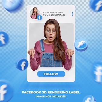 Профиль значка баннера на шаблоне ярлыка 3d рендеринга facebook