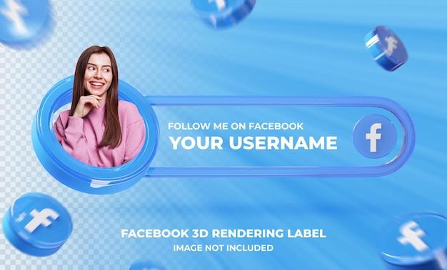 Профиль значка баннера в шаблоне 3d-рендеринга facebook