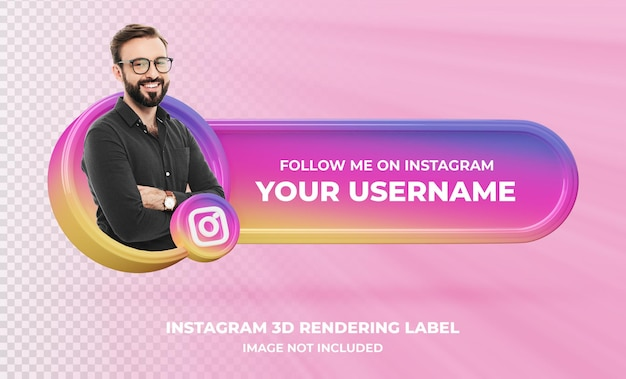 고립 된 instagram 3d 렌더링 레이블에 배너 아이콘 프로필