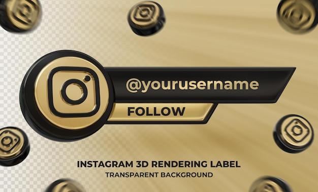 Instagram のバナー アイコン プロファイル 3 d レンダリング ラベルが分離されました。