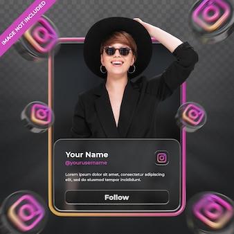 Профиль значок баннера на instagram 3d визуализации этикетки изолированные