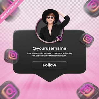 Instagram 3d 렌더링 레이블에 배너 아이콘 프로필 절연