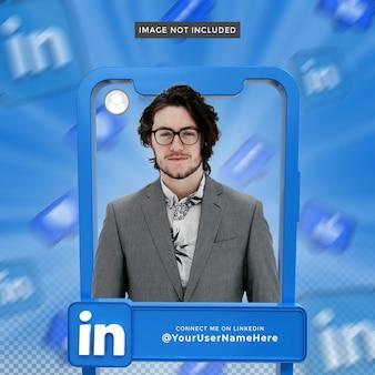 Linkedin 3d 렌더링 프레임의 배너 아이콘 프로필