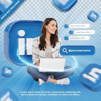 Linkedin 3d 렌더링 레이블에 배너 아이콘 프로필 절연