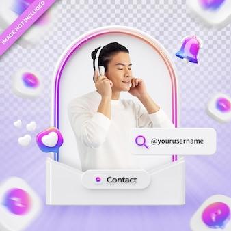메신저 3d 렌더링 레이블에 배너 아이콘 프로필 절연