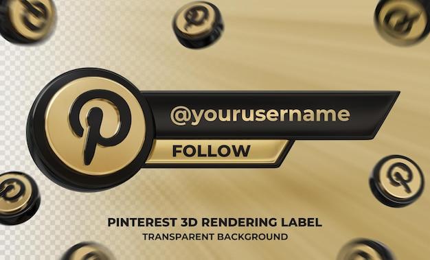 Профиль значка баннера на pinterest 3d рендеринга этикетки изолированные