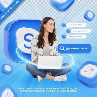 Skype 3d 렌더링 레이블에 배너 아이콘 프로필 절연