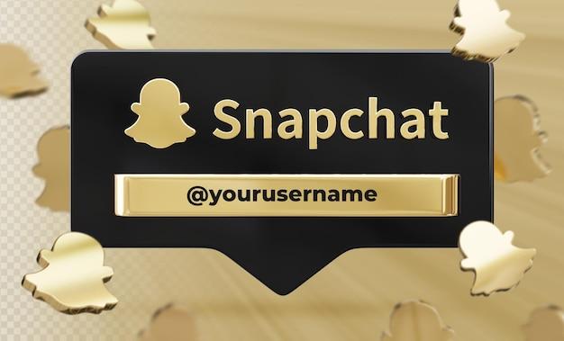 Snapchat 3d 렌더링 레이블 절연에 배너 아이콘 프로필