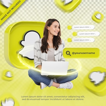 Snapchat 3d 렌더링 레이블에 배너 아이콘 프로필 절연
