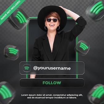 Профиль значка баннера на spotify 3d-рендеринг этикетке изолирован
