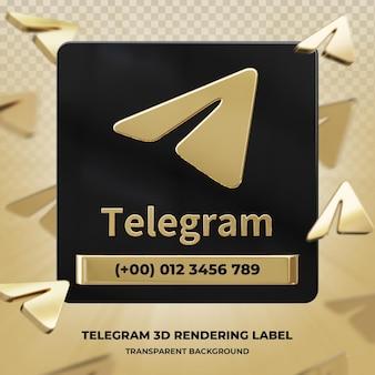 Профиль значок баннера на telegram 3d-рендеринга этикетки изолированные
